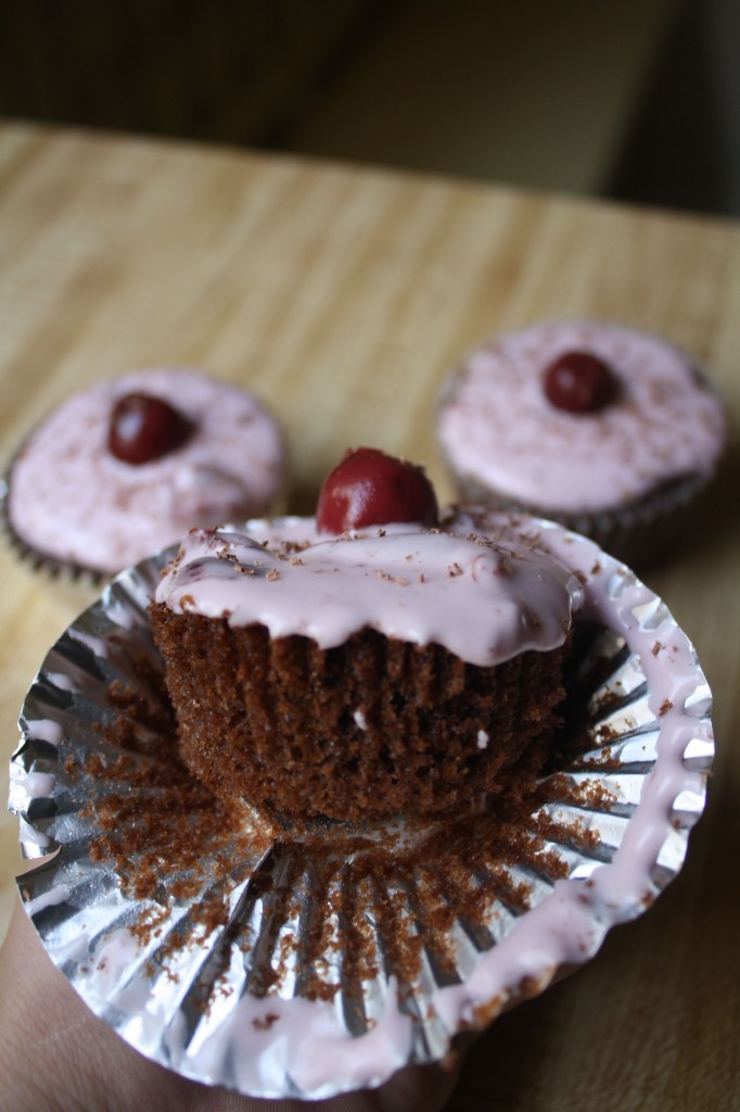 Cherry Chocolate Cupcakes With Almond Cream Cheese Frosting Recipes ...