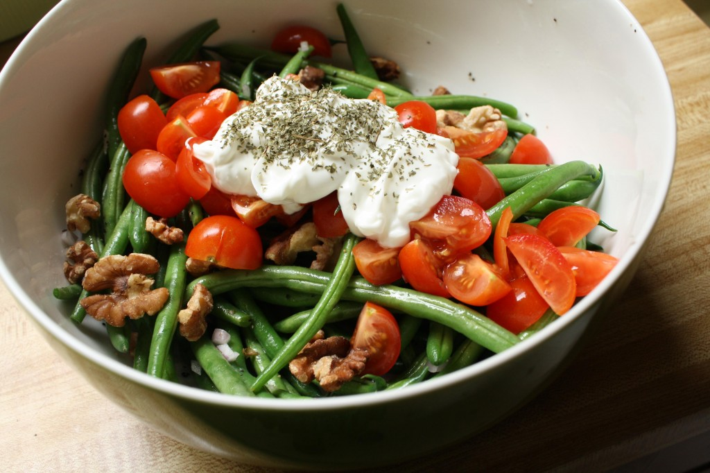 Toasted Walnut Green Bean with Labneh Salad