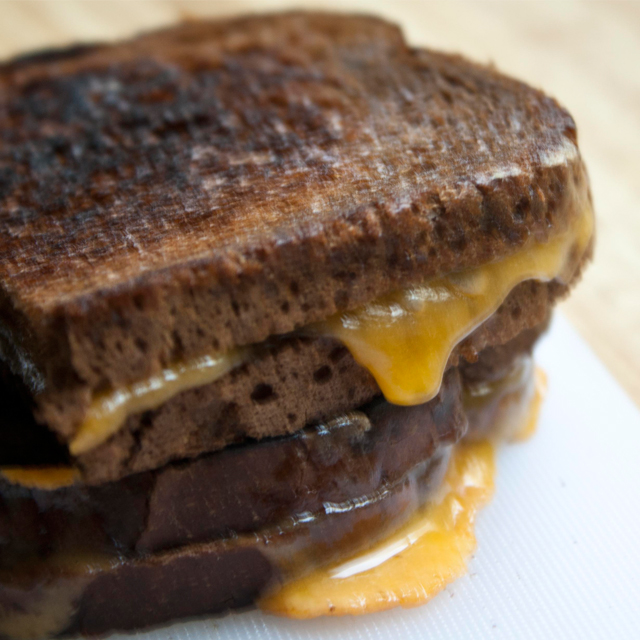 dark rye grilled cheese sandwiches
