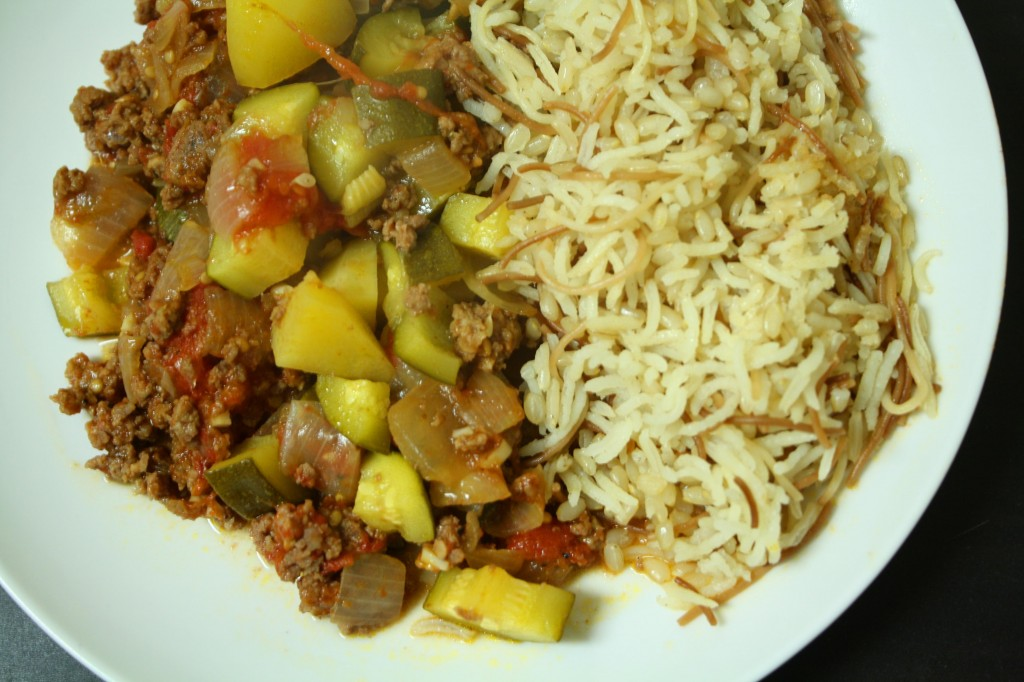 An Edible Mosaic- Meat and Vegetable Casserole with Pomegranate and Rice with Toasted Vermicelli