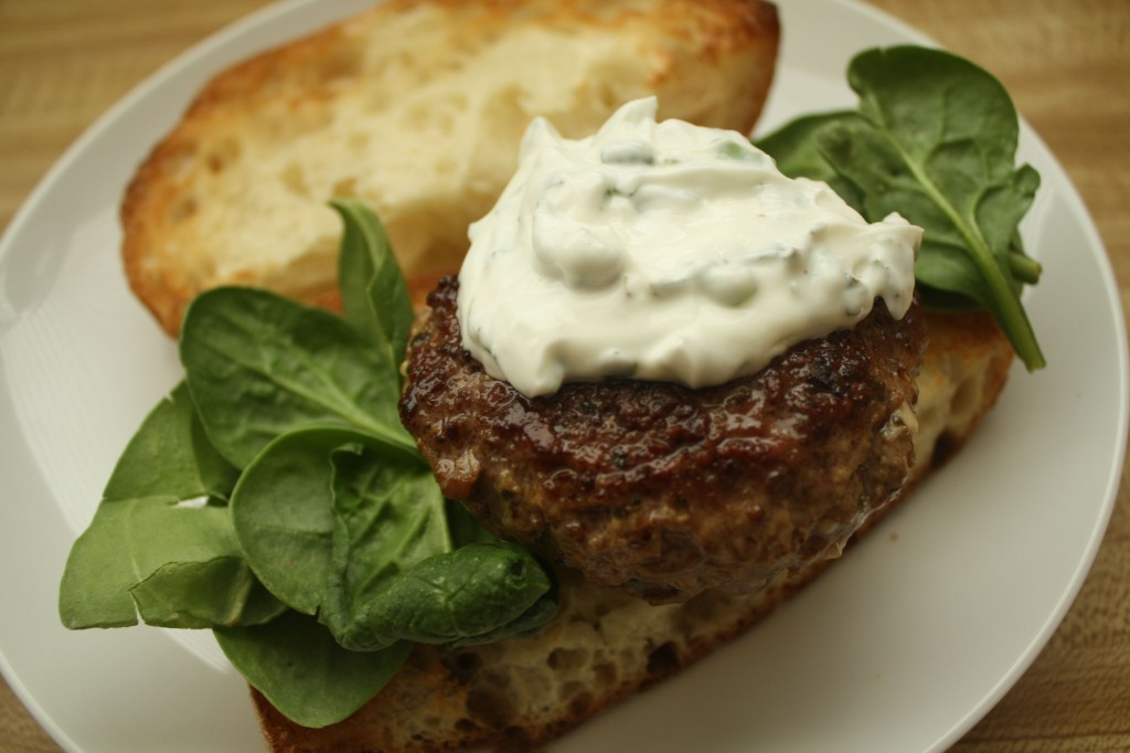 LAMB RECIPES- Lamb Burgers with Tzatziki