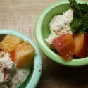 elberta fay peaches with ricotta and mint
