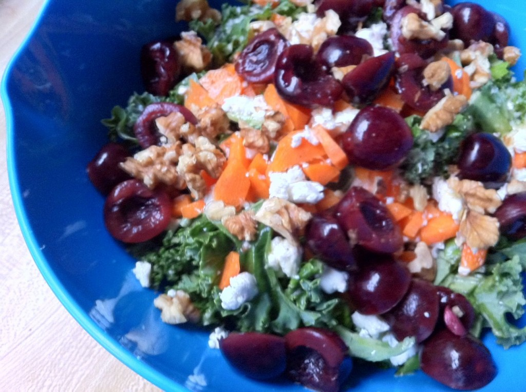 SALAD RECIPES- Massaged Kale Feta Salad with Pickled Cherries and Walnuts