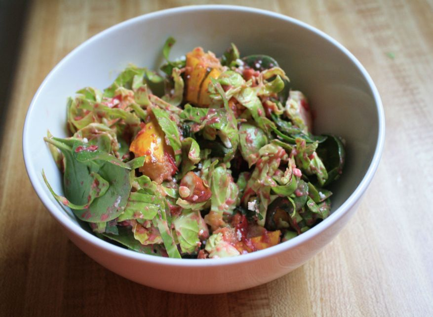 shaved brussels sprout salad with cranberry dressing