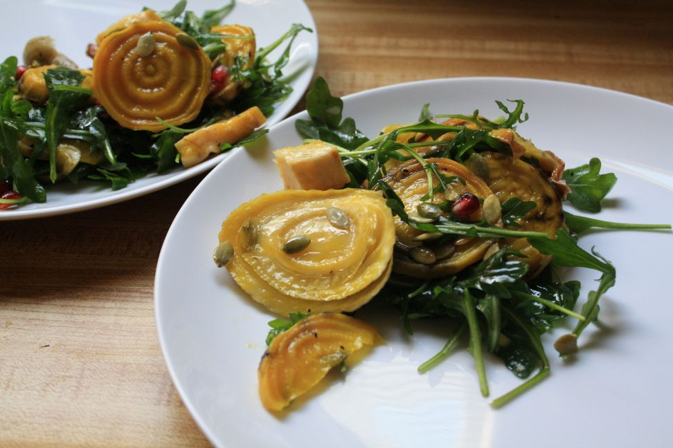 roasted beet fennel arugula salad