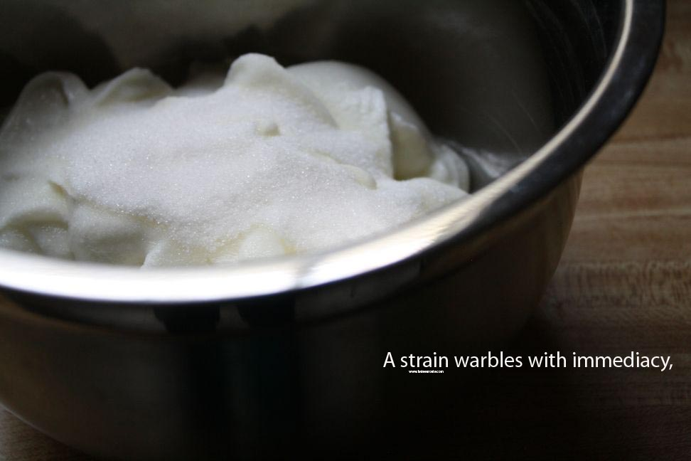a strain warbles with immediacy