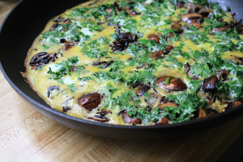 Wild Rice Frittata with Mushrooms and Crisped Prosciutto from Ancient Grains for Modern Meals