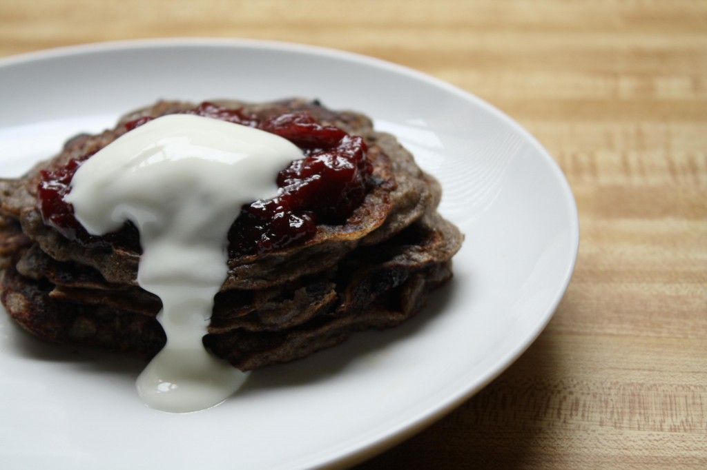 buckwheat-huckleberry-pancakes-with-plum-ginger-compote