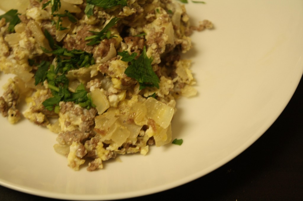 An Edible Mosaic- Scrambled Eggs with Meat and Onion