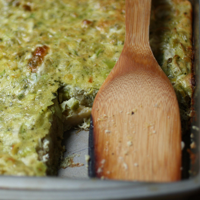 pesto polenta breakfast bake