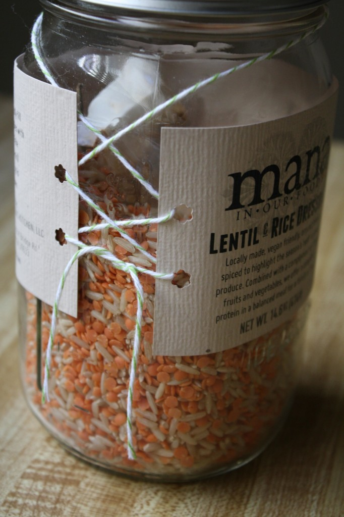 mana in our foods | lentil and rice jar packaging