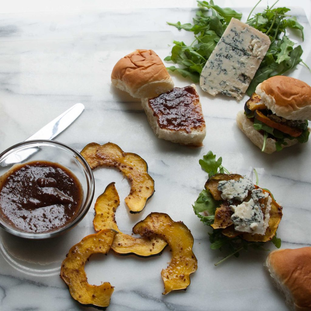 Acorn Squash Sliders with Blue Cheese & Fig Mustard