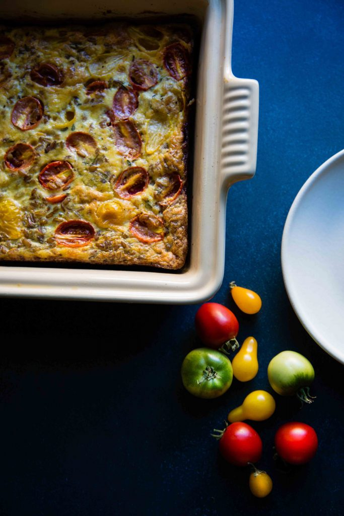 Winter mornings call for something hearty like Tomato Rye Berry Breakfast Casserole.