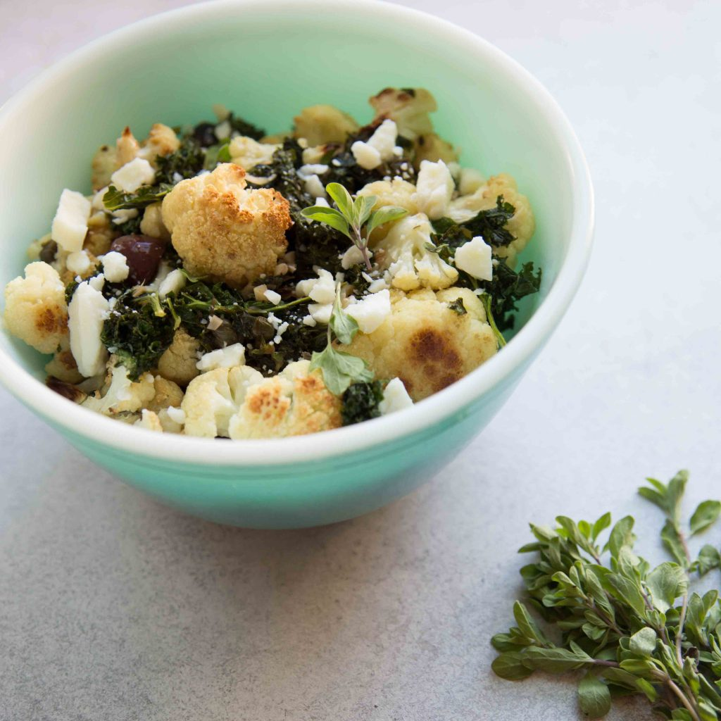 Mediterranean Cauliflower Kale Roast with Feta